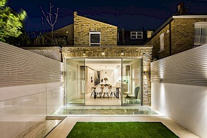 Basement exterior lighting, Campana Road, Fulham