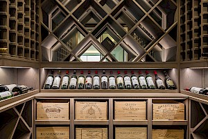 Basement wine cellar display, Campana Road, Fulham