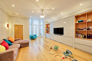 Open plan playroom and entertaining space.